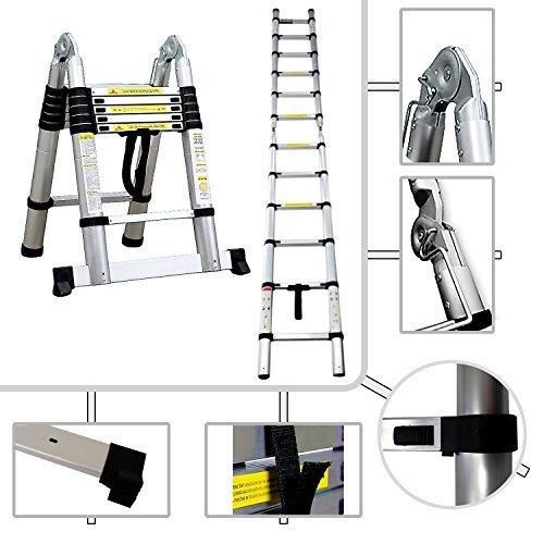 2in1 Stufenleiter Teleskopleiter PRO 95 cm bis 380 Meter aus Aluminium Norm EN131 - 2in1 Stufenleiter - Teleskopleiter PRO 95 cm bis 3,80 Meter aus Aluminium - Norm EN131