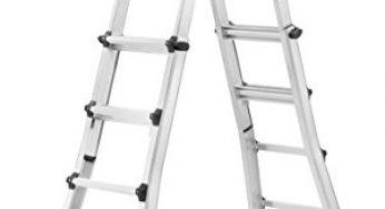 belastbar bis 150 kg 98cm zu 500cm 5 M Alu Teleskopleiter Klappleiter 12 Sprossen Ausziehbare Leiter Mehrzweckleiter mit Rutschfeste Gummif/ü/ße