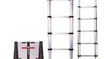 belastbar bis 150 kg 1,9M+1,9M Alu Teleskopleiter Klappleiter 12 Sprossen Ausziehbare Leiter Mehrzweckleiter mit Rutschfeste Gummif/ü/ße und Stabilisator 3,8 M 81cm zu 380cm