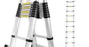 Hengda 5M Teleskopleiter Ausziehbare Leiter Rutschfester Aluminium Klappleiter Stehleiter Ausziehleiter 310x165 - Hengda 5M Teleskopleiter, Ausziehbare Leiter Rutschfester, Aluminium Klappleiter Stehleiter, Ausziehleiter Mehrzweckleiter, 150 kg Belastbarkeit