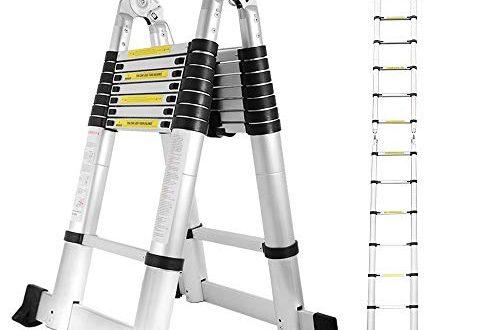 Hengda 5M Teleskopleiter Ausziehbare Leiter Rutschfester Aluminium Klappleiter Stehleiter Ausziehleiter 500x330 - Hengda 5M Teleskopleiter, Ausziehbare Leiter Rutschfester, Aluminium Klappleiter Stehleiter, Ausziehleiter Mehrzweckleiter, 150 kg Belastbarkeit